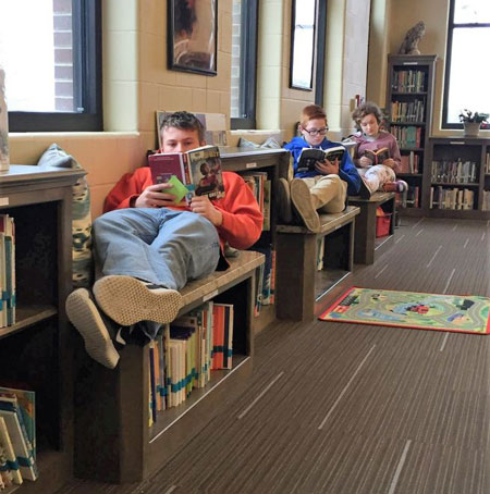 Photo of students reading at Lawson Media Library Center